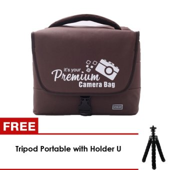 Harga uNiQue Tas Travel Camera Bag Organizer Premium Coklat + FREE Mini Tripod Octopus + Holder U
