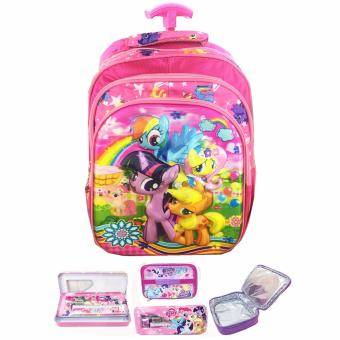 Harga BGC 5 Dimensi My Little Pony Flower Tas Troley Anak SD IMPORT 3 Kantung + Lunch Bag Aluminium Tahan Panas + Kotak Pensil Alat Tulis - Full Motif Pony