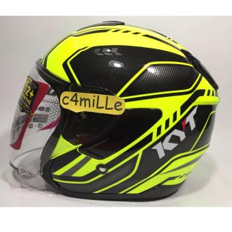 Harga HELM KYT KYOTO SUPER FLUO CARBONIZED ED 01 YELLOW FLUO HALF FACE