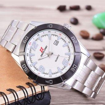Sa Rt 5552sw Tgl Swiss Army Jam Tangan Pria Body Silver White Dial .