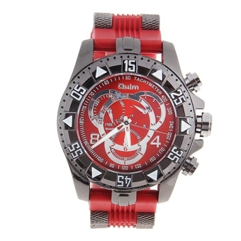 Harga Oulm 1368 Men Boys Quartz Wrist Watch with Silicone Band (Red) - intl