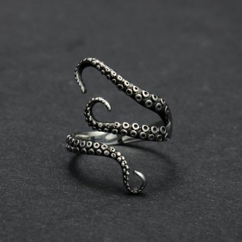 Harga Cool Top Quality Titanium Steel Gothic Deep Sea Squid Octopus Finger Rings Fashion Jewelry Opened Adjustable Sizes - intl