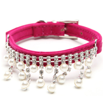 Harga Amart Bling Rhinestone Pearl Necklace Pet Collar for Puppy Dogs (color:Rose Red size:S) - intl