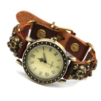 Harga CE Fashion Leather Necklace Table Japan And South Korea Simple Retro Connection Bracelet Leather Handicraft Skull Head Decoration Retro Cowhide Bracelet Watch Men And Women Leather Watch Punk Coffee - intl
