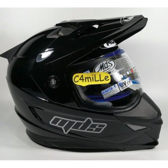 Harga HELM MDS SUPER PRO SOLID BLACK DOUBLE VISOR CROSS TRAIL