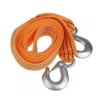 Harga 3Meter 3Tons Car Tow Strap Traction Rope Trucks with Forge Iron Hooks Car Tow Rope (Yellow)