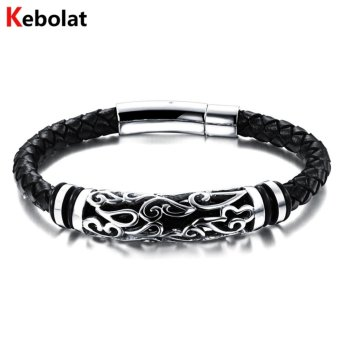 Harga Kebolat 185mm Genuine Leather Stainless Steel Men Bracelet Jewelry Wire Bracelets Cool Man Casual Trend Male Accessorie PH901-L185 - intl
