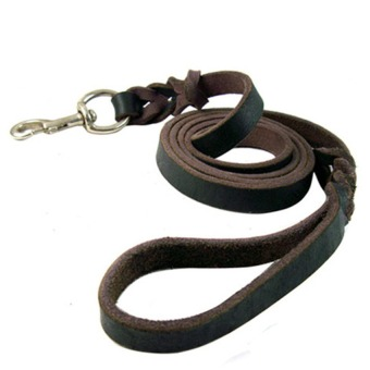 Harga Pet Dog Leather Collar & Leash Chain Rope for Big Dogs (1.2M) - intl