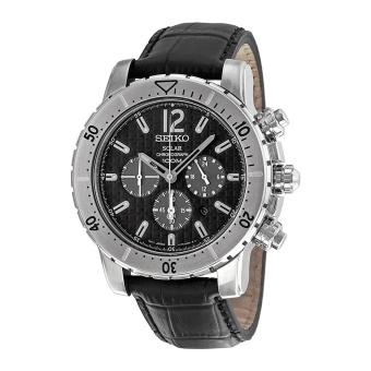 Seiko Watch Solar Chronograph Black Stainless-Steel Case Leather Strap Mens Japan NWT + Warranty
