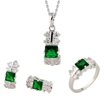 Harga DJE0027 Women Zircon Decorated Necklace Ring Earrings (Green)