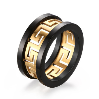 Titanium Steel Hollow-out the Great Wall Figure Ring for Men Great for Gifts