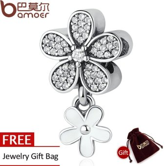 BAMOER 925 Sterling Silver Dazzling Daisy Duo, White Enamel & Clear CZ Pendant Charms fit
