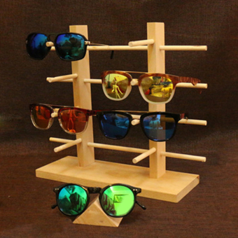 Harga MagiDeal 2-Row 4-Layer Sunglasses Wooden Rack Frame Display Stand Holder