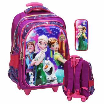 Onlan Disney Frozen 5D Timbul Tas Trolley Anak Sekolah SD ada 3 Kantung Import dan Kotak