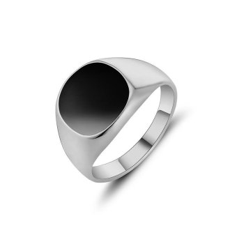 Retro Silver Ring Party Jewelry Titanium Steel Ring Domineering Obsidian Men's Jewelry Gift - intl