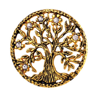 U7 Rhinestone Tree of Life Brooches Round 18K Real Gold Plated Fashion Jewelry Unisex Accessories Perfect