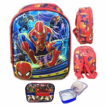 BGC 6 Dimensi Avenger Spiderman Web IMPORT Tas Ransel Anak Sekolah PG Lunch .