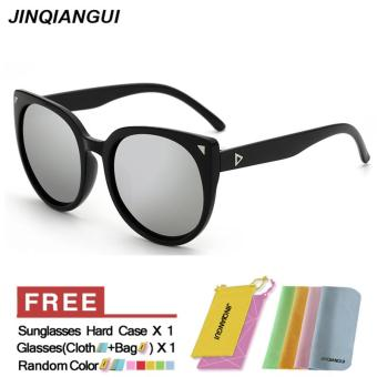 Sunglasses Women Cat Eye Retro Silver Color Polaroid Lens Plastic Frame Driver Sunglasses Brand Design Original