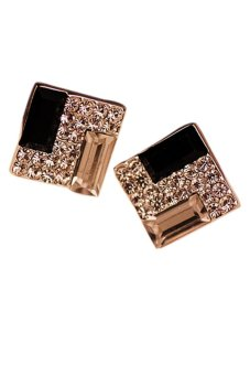 Harga Fashion Square Rhinestone Earrings (Gold)?