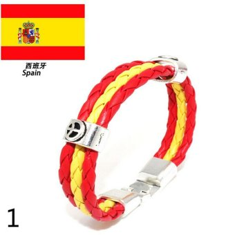 Harga World Cup FIFA Soccer Fans National Flag Unisex Leather Bracelet Spain - intl