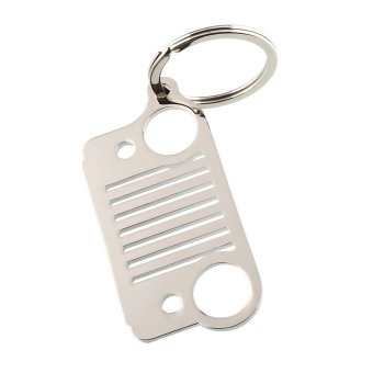 Harga OEM Hot Portable Stainless Steel Jeep Grill Grille Key Chain Silver CJ JK XJ