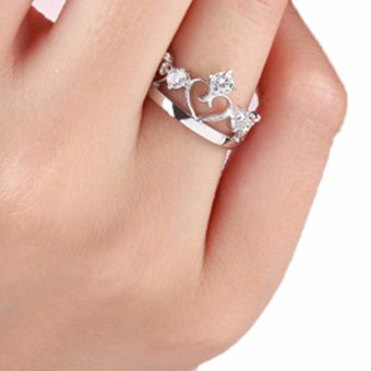 Harga Fancyqube New Silver Plated Prince Princess Imperial Crown Adjustable Couple Rings Lovers Jewelry Gift Drop Shipping Women - intl