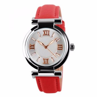 Harga Mortima Jam Tangan Kasual Wanita Leather Strap Watch 9075CL - Red