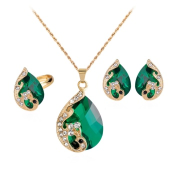 Harga Fancyqube DIY Peacock Exquisite Jewelry Red Stone Rhinestone Decorated Necklace/ Earrings/ Ring Three-piece Jewelry Set Green(White) - intl