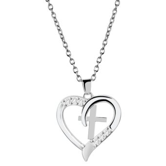 Harga Fashion Charm Heart Cross Pendant Crystal Rhinestone Necklace Jewelry Gift