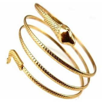 Phoenix B2C Punk Fashion Coiled Snake Spiral Upper Arm Cuff Armlet Armband Bangle Bracelet (Gold)