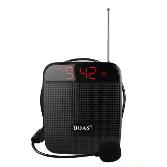 BOAS BQ-800 loudspeaker High Power Speaker Voice Amplifier Support FM Radio MP3 Player w / Microphone Black For Teachers Tour Guide Sales Promotion - intl