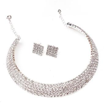 Harga LALANG New Women Crystal Rhinestone Jewelry Necklace 5-rows Crystal and Earrings