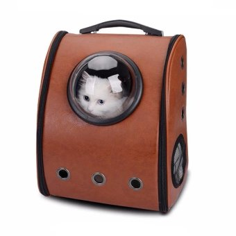 Harga AOYI Soft Astronaut Space Capsule Backpack Transparent Breathable Pet Travel Carrier Bag Dogs Cats Backpack ( Brown ) - intl