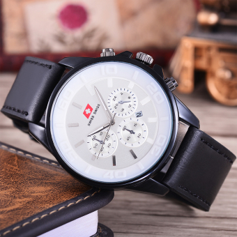Gambar Produk Swiss Swiss Jam Tangan Pria Body Black White Dial Black Leather .