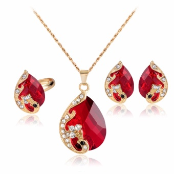 Harga Fancyqube DIY Peacock Exquisite Jewelry Red Stone Rhinestone Decorated Necklace/ Earrings/ Ring Three-piece Jewelry Set Red(White) - intl