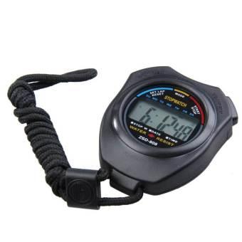 New digital pengatur waktu olahraga lari Chronograph stopwatch kontra dengan tali pengikat (