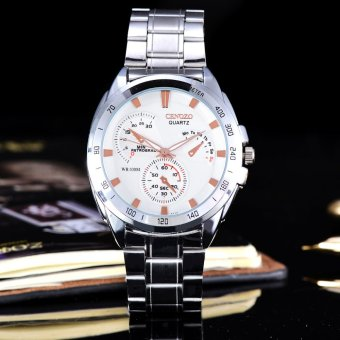 Cenozo - Jam Tangan Pria - Body Silver - White Rose Dial - Silver Stainless Steel