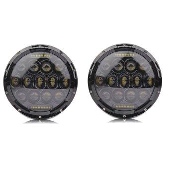 Lantsun 75w 7inch LED Round Headlights w/ DRL High Low Beam Phillips Leds for Jeep Wrangler Jk Tj Fj Cruiser ...