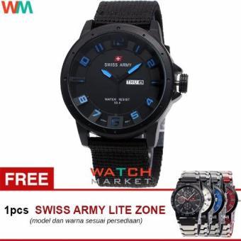 Swiss Army SA 8014-Jam Tangan Pria-Hitam Biru-Strap Kanvas Full Hitam