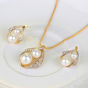 Harga Bridal Wedding Party Jewelry Set Crystal Pearl Necklace Earrings Ring - intl