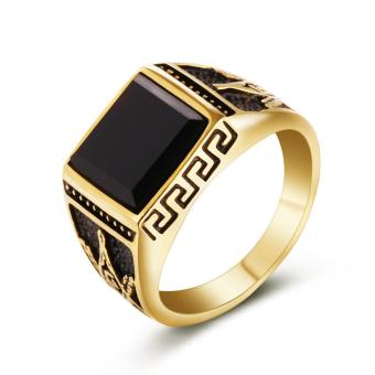Gold Plated Men Masonic Ring With Black Stone Stainless Steel Wedding Bands for Men Freemasonry Rings