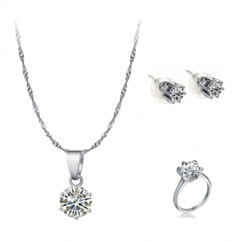 Harga Jo.In Women 3PCS Rhinestone Necklace Earrings and Ring Jewelry Set (Multicolor) - intl
