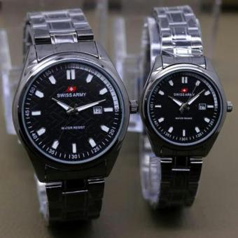 Sa 6877 Black Source Swiss Army Couple Stainless Steel Black Gold SA1570BG Couple