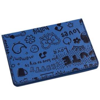 ... Dompet paspor Hanyu motif kartun Biru tua 2