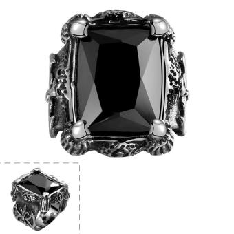 316l Stainless Steel Classical Exquisite Flower Pattern Black Agate Rings Band - intl .