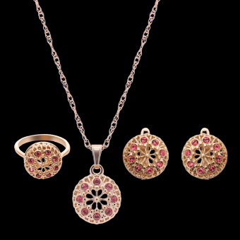 Harga Rich Long Rose Gold Plated Women's Vintage Wedding Party Rhinestone Necklace & Earrings & Ring Jewelry Sets - intl