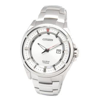 Citizen Watch ECO-DRIVE Silver Titanium Case Titanium Bracelet Mens Japan NWT + Warranty AW1401-50A ...