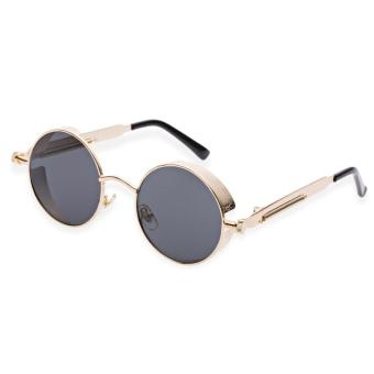 Harga Round Circle Vintage Vintage Gothic Steampunk Coating Mirrored Unisex Sunglasses(Gold Frame+Grey Lens C3) - intl