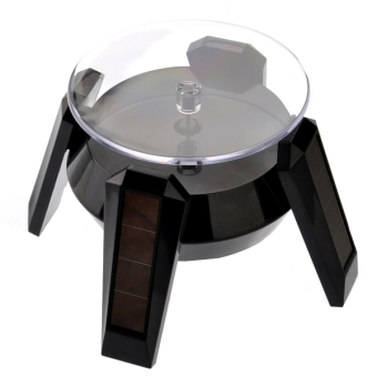Harga Solar/AA Battery Powered 360-degree Rotating Display Stand Turntable for Cell Phone /Watch /Jewelry (Black) - intl