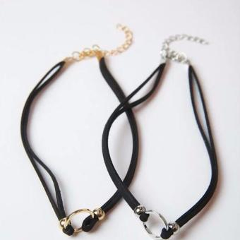 Hequ 90 S wanita hitam beludru kalung Choker gotik buatan tangan perhiasan emas Retro olok